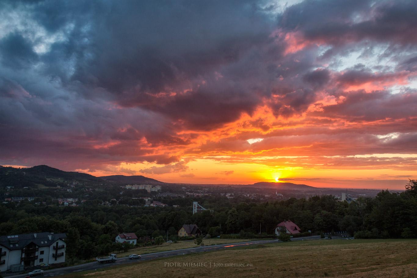 Zachód słońca nad Ustroniem