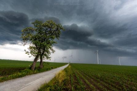 Wiśnicze – burza i wiatraki